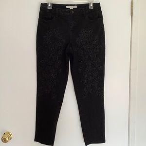 Boston Proper Embroidered Embellished Skinny Jeans